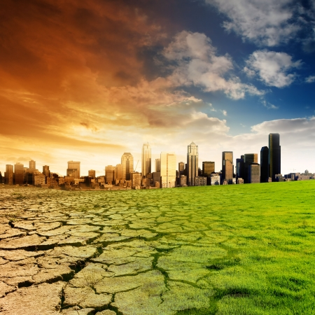 Effect of Global Warming on a city Stock Photo - 3147106
