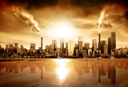warming: Modern City surrounded by pollution