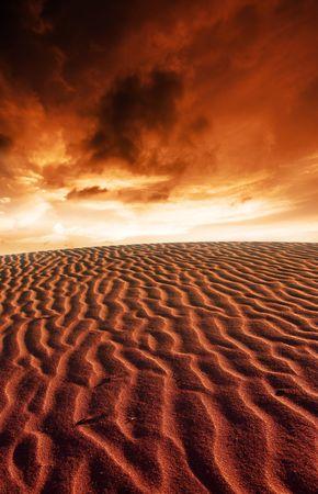 Desert Ripples and Stunning Sunset Stock Photo - 3421530