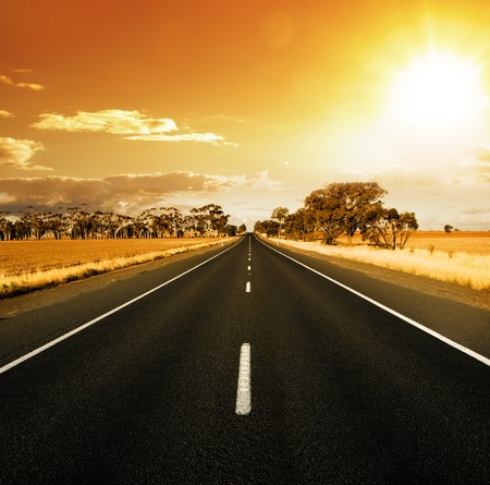 Straight Road at sunset in rural Australia