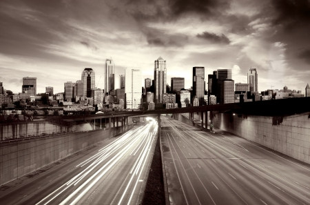 Traffic escaping a post apocalyptic city                    photo