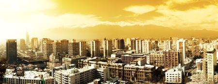 andes mountain: Panorama of the city of Santiago, Chile