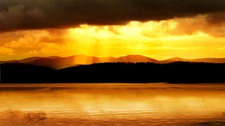 Fishing boat and amazing sunset photo
