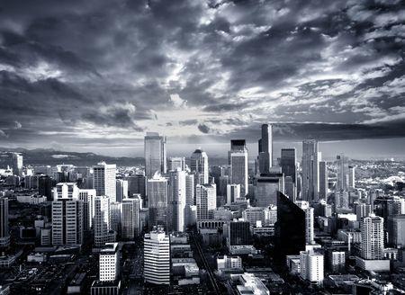 seattle: Blanco y negro Seattle Cityscape Foto de archivo