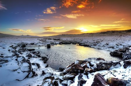 Stunning winter sunset in the Falkland Islands Stock Photo - 5568534