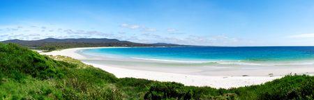 panorama beach: Binalong Bay - costa est della tasmania Archivio Fotografico