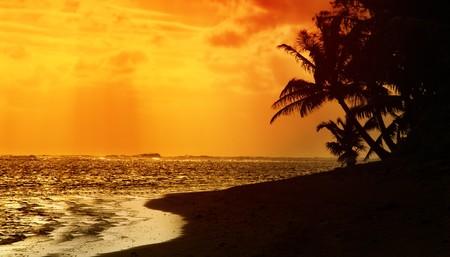 rarotonga: Tramonto sul Rarotonga, Isole Cook  Archivio Fotografico