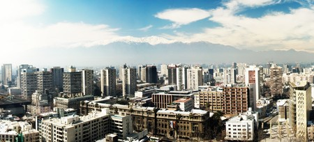 산티아고, 칠레의 도시의 파노라마