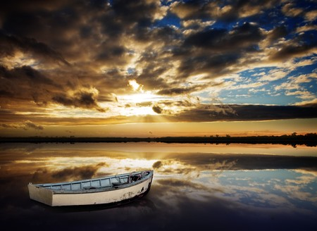 Gorgeous Peaceful Sunset over lake Stock Photo - 7689587