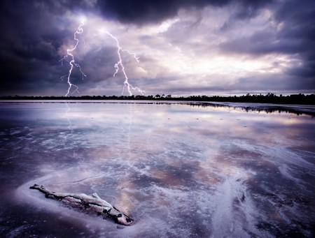 Lightning Strikes a salt lake