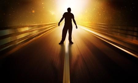 Man standing in futuristic scene Stock Photo - 7689623