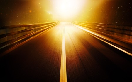 Road leads into the bright light Stock Photo - 7689577