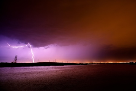 Lightning strikes during electrical storm photo