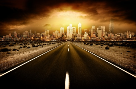 future city: Road heading into city Stock Photo