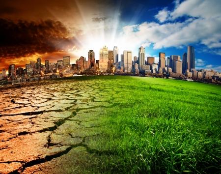 calentamiento global: Una ciudad que muestra el efecto del cambio climático