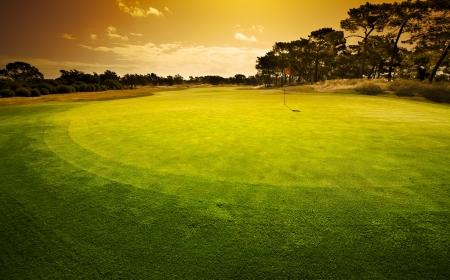 골프 녹색 일몰 스톡 콘텐츠