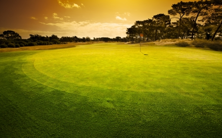 Golf Green Sunset photo