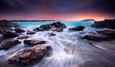 Amazing Sunrise Over Australian Beach Stock Photo
