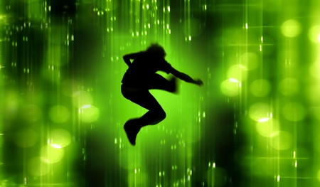 teen silhouette: Abstract Silhouette of Teenager doing a punk jump Stock Photo