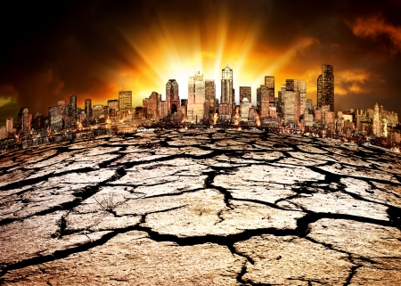 dire: A city showing the effect of Climate Change