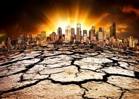 Una città che mostra l'effetto dei cambiamenti climatici