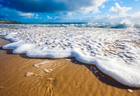 파도가 호주 해변에서 황금빛 모래에 씻어
