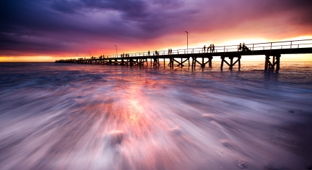 Purple jetty sunset photo