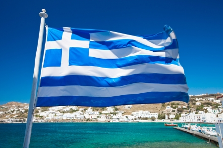 greece flag: The Greek National flag in Mykonos