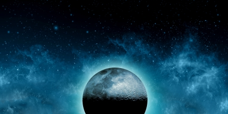 unearthly: Supernatural Concept - Moon in front of galaxies
