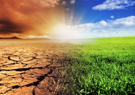 calentamiento global: Un joven con problemas para caminar hacia la luz