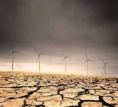 windfarm: Windfarm in a barren cracked desert