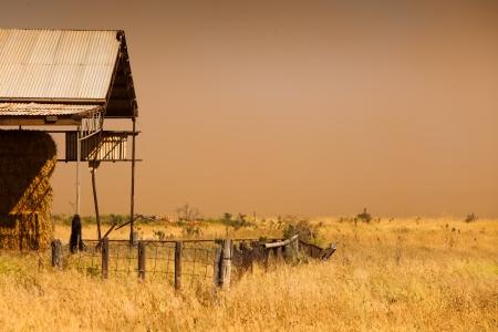 A dust storm hits farmland Standard-Bild