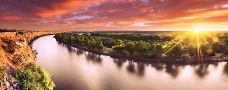 river: Sunset on the Murray River, South Australia
