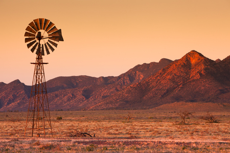 Lone Windmill in the Flinders Ranges Stock Photo