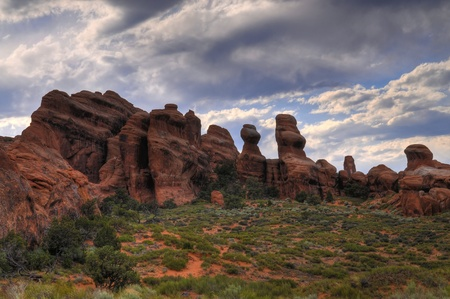 devils garden: HDR image of a Devils Garden in Arches National Park Utah Stock Photo