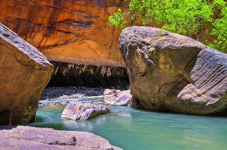 slot canyon: River Narrows Trail in Zion National Park Stock Photo