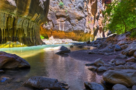 slot canyons: River Narrows Trail in Zion National Park Stock Photo