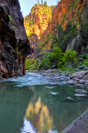 River Narrows Trail in Zion National Park Stock Photo