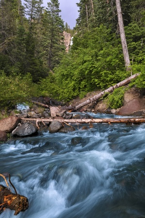Waterfall and blue cascade in the colorado rockies Stock Photo - 10467228