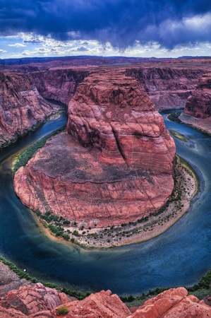 Stormy Dramatic Sky over Horseshoe Bend in Page Arizona Stock Photo - 10468309