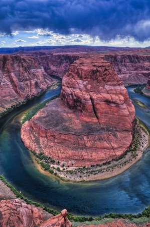 Stormy Dramatic Sky over Horseshoe Bend in Page Arizona Stock Photo - 10468212