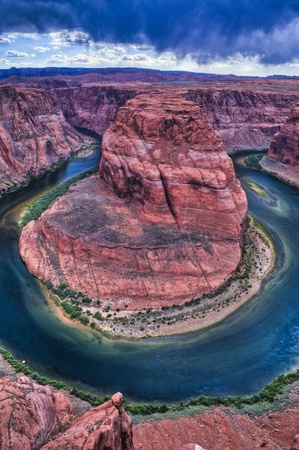 Stormy Dramatic Sky over Horseshoe Bend in Page Arizona Stock Photo - 10468210