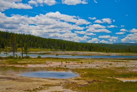 pressurized: Little steaming pond along the firehole road in yellowstone national park