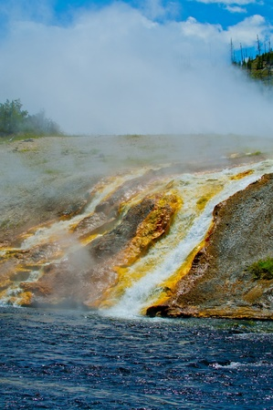 prismatic: Grand Prismatic Geyser flowing into the Firehole River