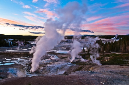 Spectacular Shot of Norris Geyser Basin after sunset Stock Photo