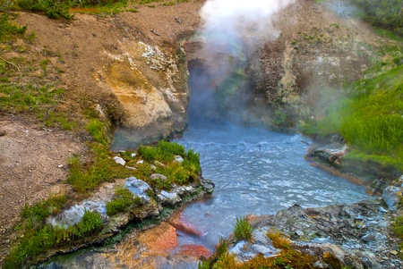 steam mouth: Dragons Mouth Spring at Yellowstone National Park