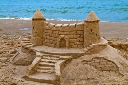 Sand Caslt on the beach of lake Michigan Stock Photo