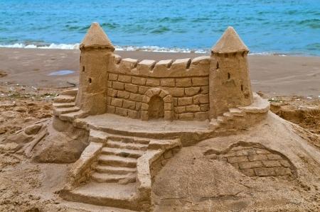 Sand Caslt på stranden av sjön Michigan