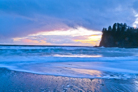 Dramatic Golden Blue Sunset over La Push Beach Stock Photo - 12827723