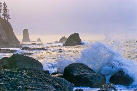 Crashing waves amazing sunset sky at La Push Beach in Olympic National Park Stock Photo - 13165021